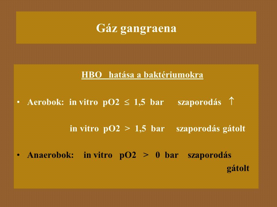 Gáz gangraena HBO hatása a baktériumokra Aerobok: in vitro pO2  1,5 bar szaporodás  in vitro pO2 > 1,5 bar szaporodás gátolt Anaerobok: in vitro pO2