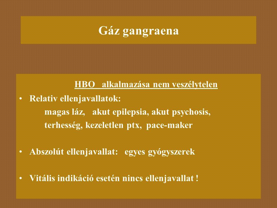 Gáz gangraena HBO alkalmazása nem veszélytelen Relativ ellenjavallatok: magas láz, akut epilepsia, akut psychosis, terhesség, kezeletlen ptx, pace-mak