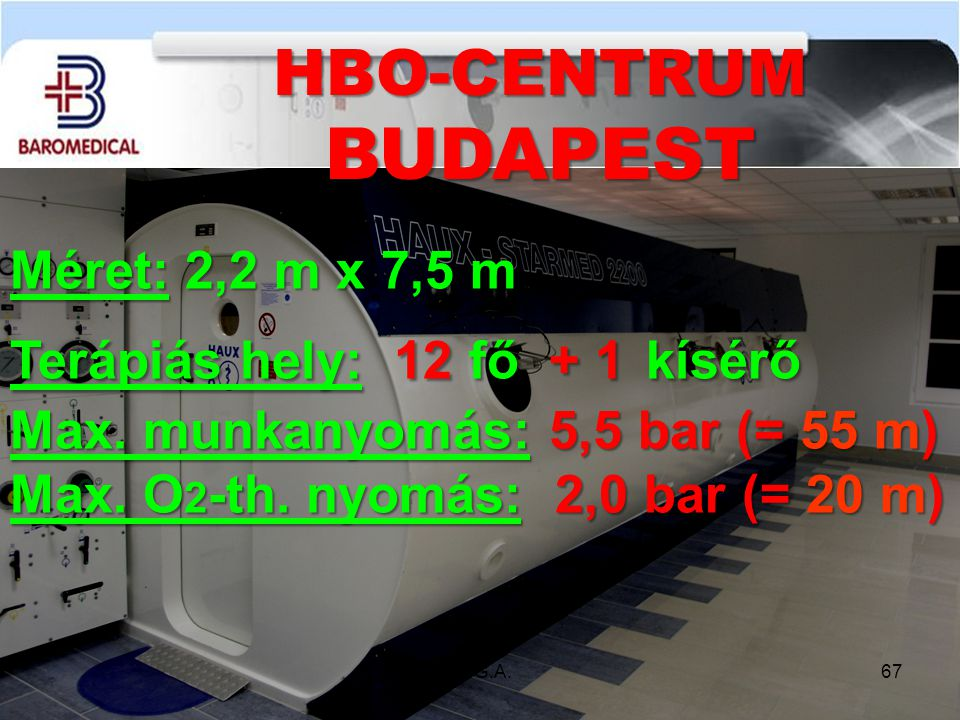 Méret: 2,2 m x 7,5 m Terápiás hely: 12 fő + 1 kísérő Max. munkanyomás: 5,5 bar (= 55 m) Max. O 2 -th. nyomás: 2,0 bar (= 20 m) HBO-CENTRUMBUDAPEST 67d