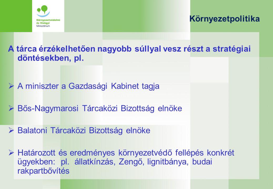 Környezetpolitika A tárca érzékelhetően nagyobb súllyal vesz részt a stratégiai döntésekben, pl.