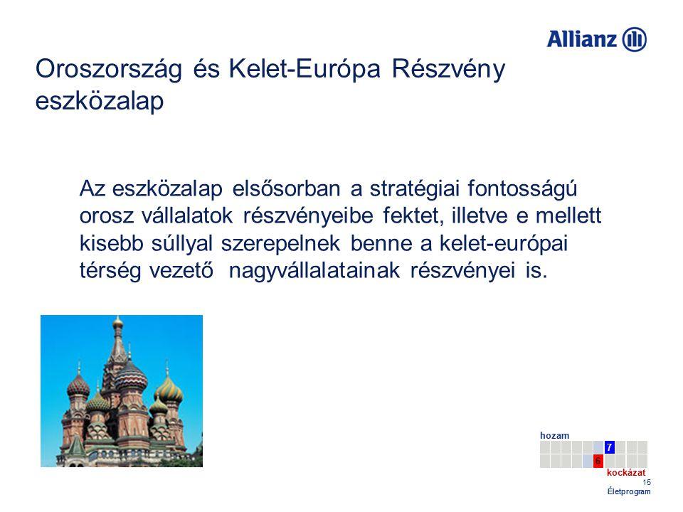 15 Életprogram Oroszország és Kelet-Európa Részvény eszközalap 7 hozam kockázat 6 Az eszközalap elsősorban a stratégiai fontosságú orosz vállalatok részvényeibe fektet, illetve e mellett kisebb súllyal szerepelnek benne a kelet-európai térség vezető nagyvállalatainak részvényei is.