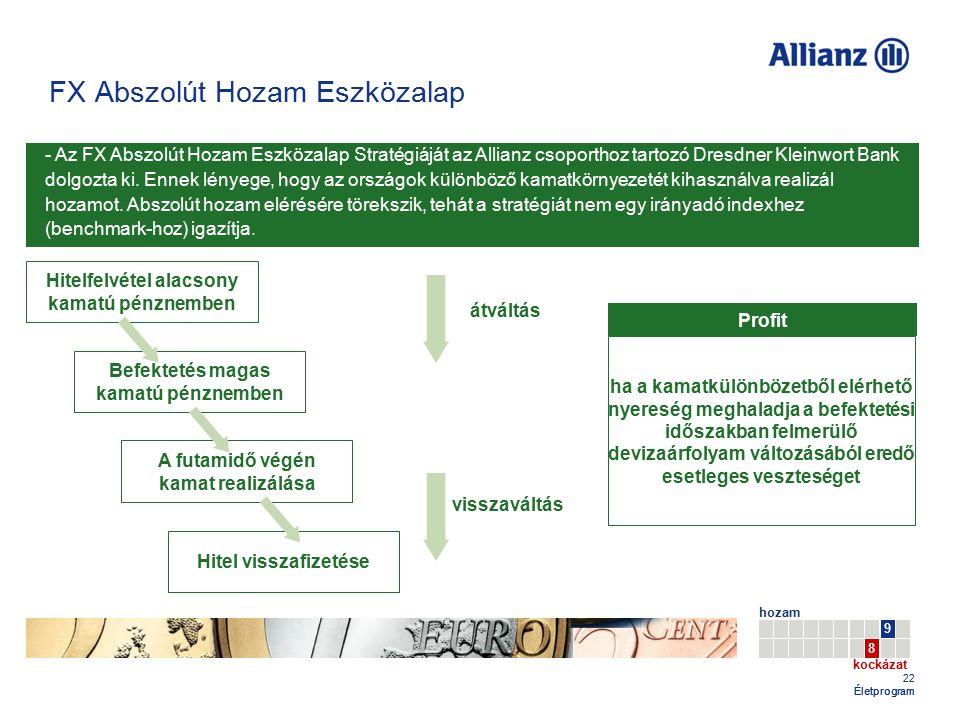 22 Életprogram - Az FX Abszolút Hozam Eszközalap Stratégiáját az Allianz csoporthoz tartozó Dresdner Kleinwort Bank dolgozta ki. Ennek lényege, hogy a