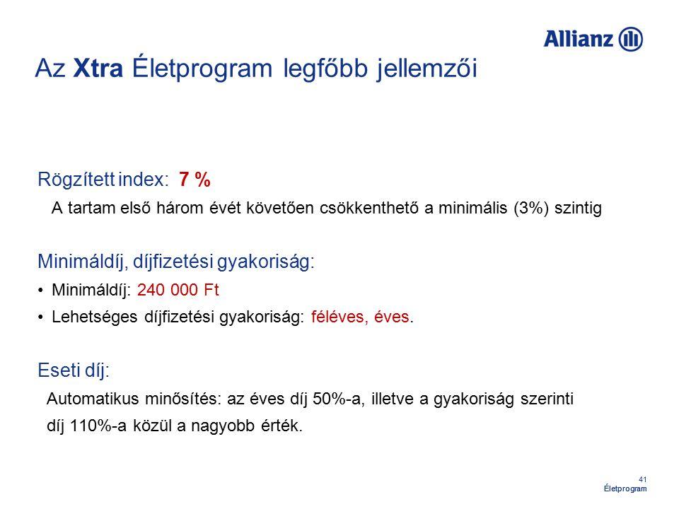41 Életprogram Az Xtra Életprogram legfőbb jellemzői Rögzített index: 7 % A tartam első három évét követően csökkenthető a minimális (3%) szintig Mini