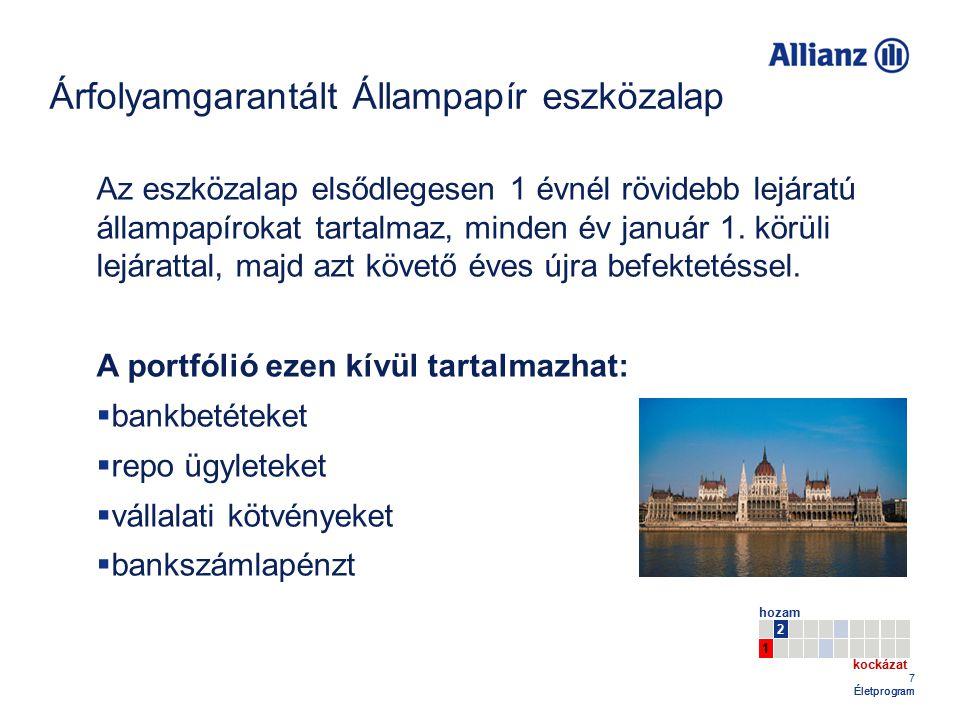 48 Életprogram Egyszeri díjfizetésű Allianz Életprogram Célcsoport: Meglévő tőkének, költséghatékony, jövedelmező befektetési formát kereső ügyfelek.