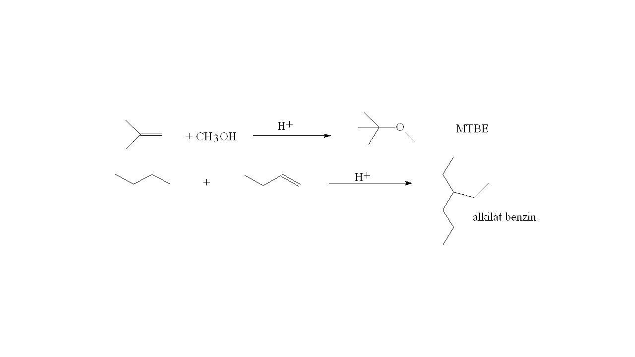 Benzin keverőkomponens gyártás MTBE oktánszám javító és égésfokozó Alkilát benzin jó oktánszámú műbenzin finomítói C4 frakcióból Mindkét eljárásban savas katalízis!