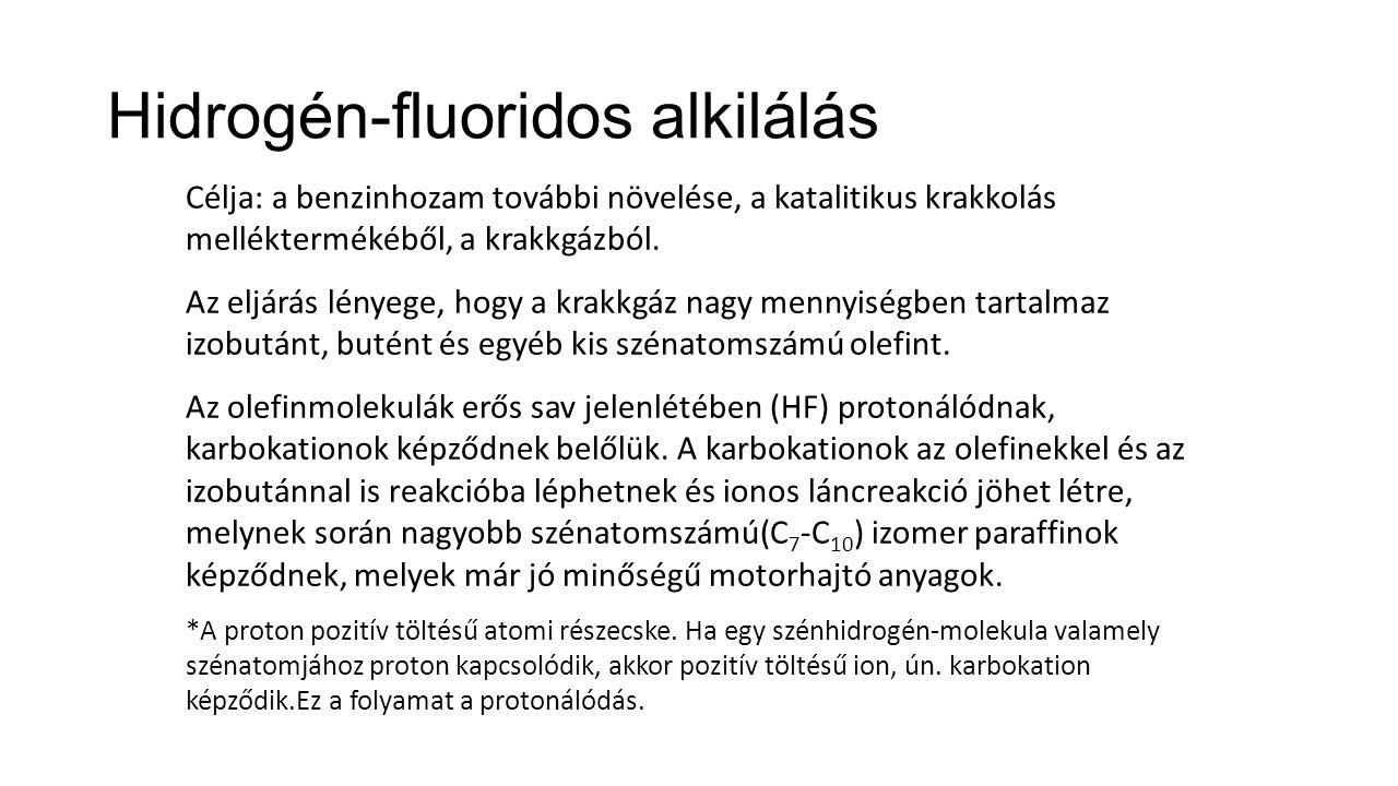Hidrogén-fluoridos alkilálás Célja: a benzinhozam további növelése, a katalitikus krakkolás melléktermékéből, a krakkgázból.