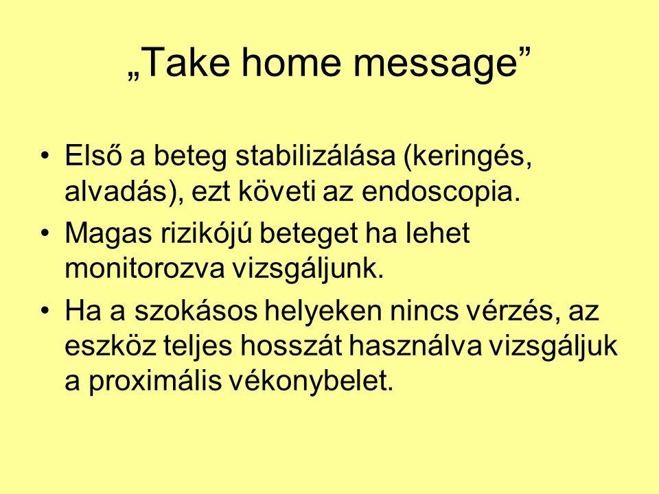 """""""Take home message"""" Első a beteg stabilizálása (keringés, alvadás), ezt követi az endoscopia. Magas rizikójú beteget ha lehet monitorozva vizsgáljunk."""