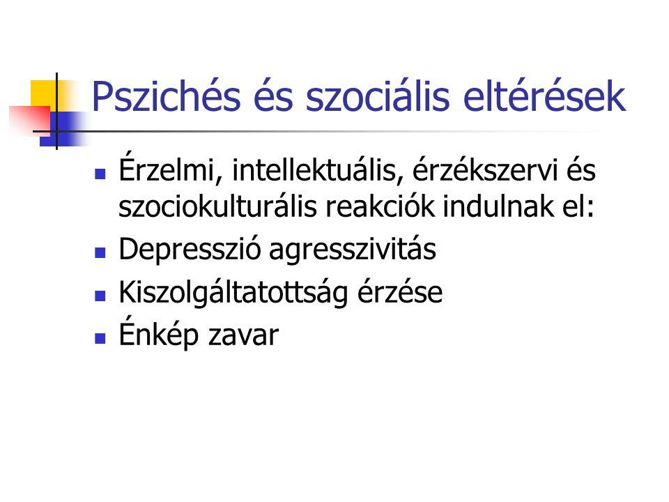 Pszichés és szociális eltérések Érzelmi, intellektuális, érzékszervi és szociokulturális reakciók indulnak el: Depresszió agresszivitás Kiszolgáltatottság érzése Énkép zavar