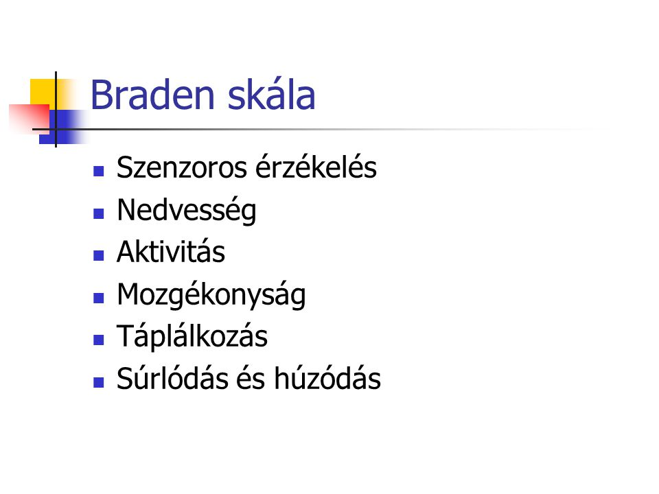 Braden skála Szenzoros érzékelés Nedvesség Aktivitás Mozgékonyság Táplálkozás Súrlódás és húzódás