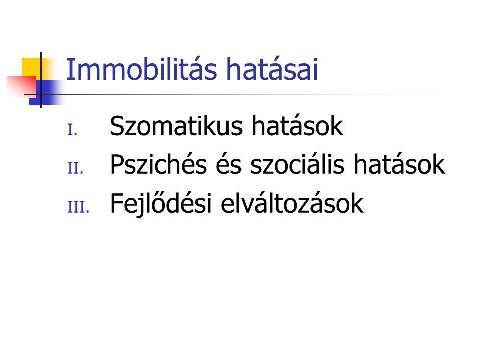 Immobilitás hatásai I.Szomatikus hatások II. Pszichés és szociális hatások III.