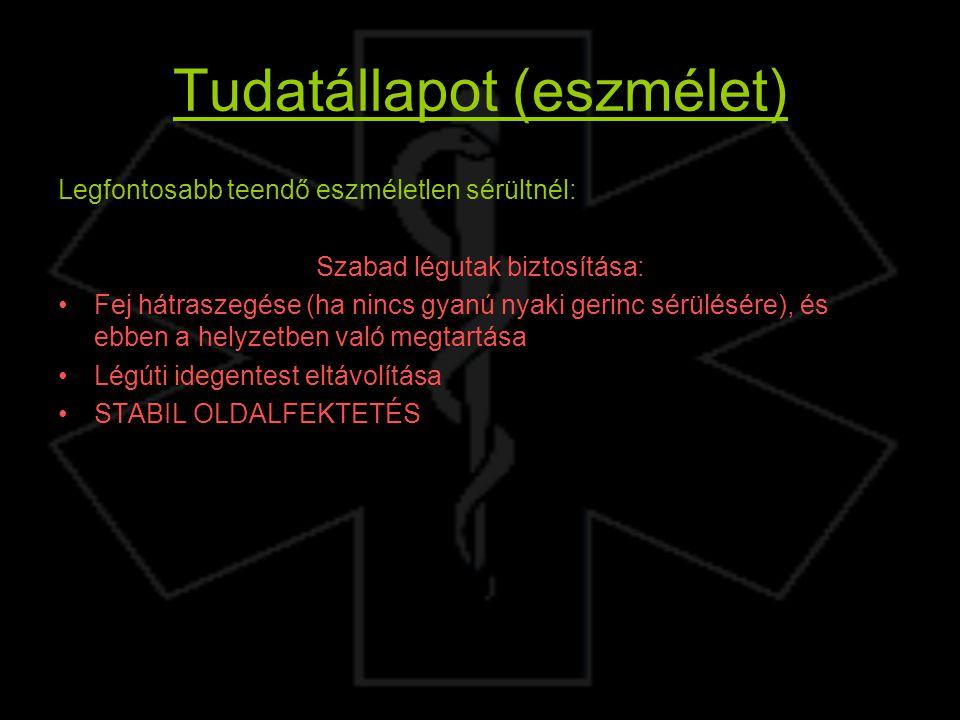 Tudatállapot (eszmélet) Legfontosabb teendő eszméletlen sérültnél: Szabad légutak biztosítása: Fej hátraszegése (ha nincs gyanú nyaki gerinc sérülésér
