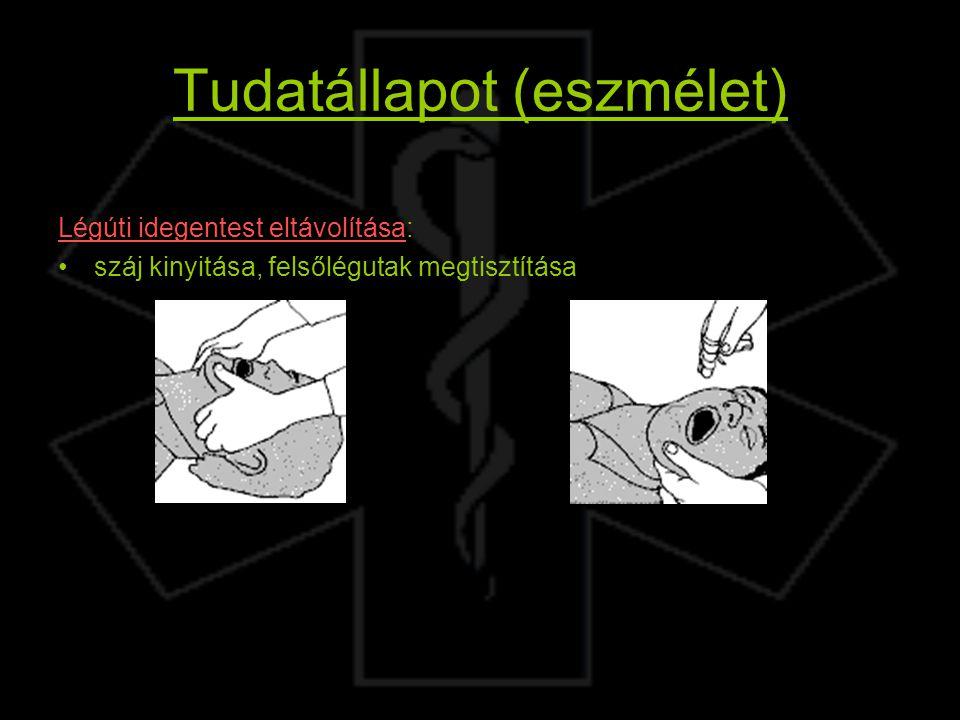 Tudatállapot (eszmélet) Légúti idegentest eltávolítása: száj kinyitása, felsőlégutak megtisztítása