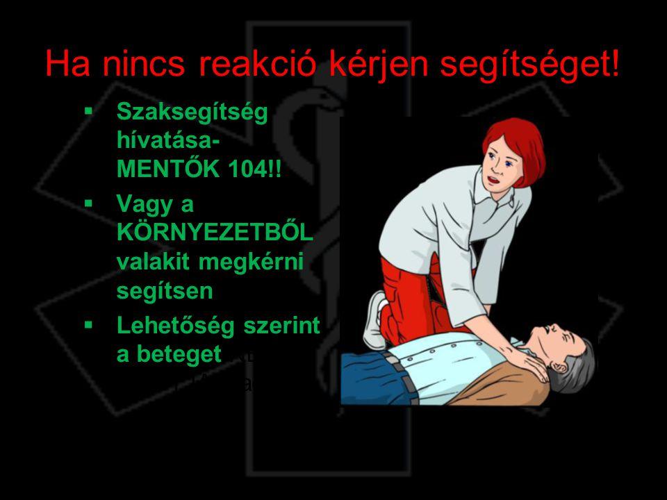 Ha nincs reakció kérjen segítséget!  Szaksegítség hívatása- MENTŐK 104!!  Vagy a KÖRNYEZETBŐL valakit megkérni segítsen  Lehetőség szerint a betege