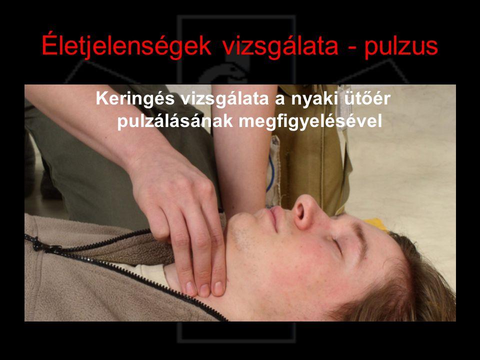 Légzés vizsgálata A sérült arca fölé hajolva úgy, hogy közben a mellkasára tekintünk.