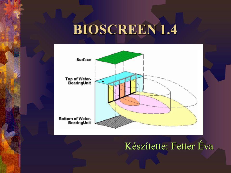 Szorpció számítása a Bioscreenben  A felszín alatti környezetben végbemenő szorpcióból eredő retardáció (R) mértékének közelítésére a következő empirikus összefüggés alkalmazott: Ahol: Ahol:   a talaj sűrűsége (kg/l), értéke kb.