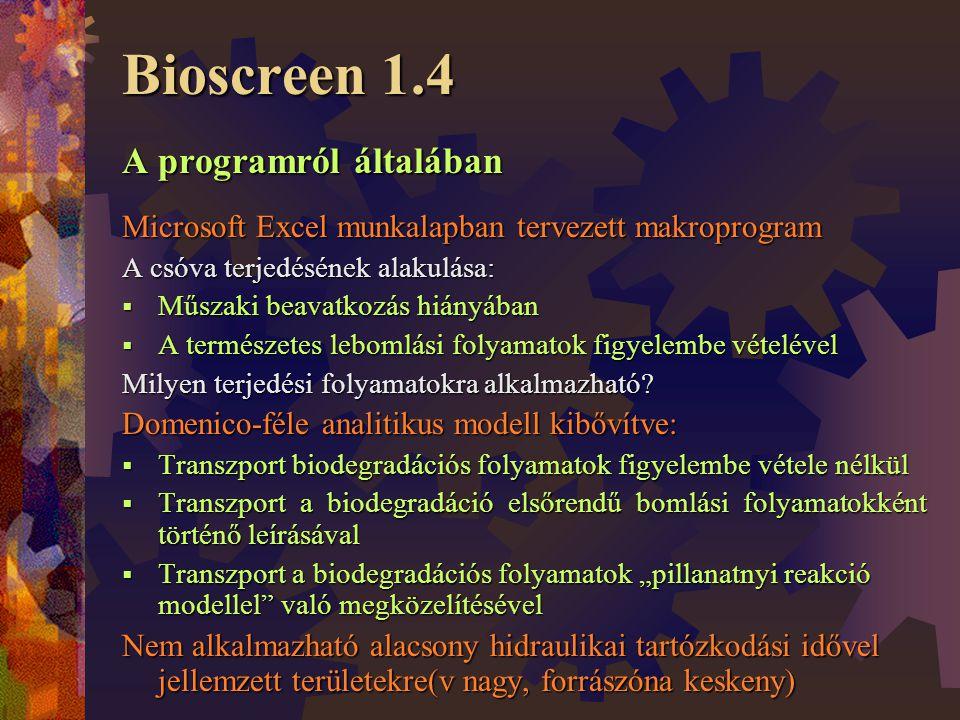Bioscreen 1.4 A programról általában Microsoft Excel munkalapban tervezett makroprogram A csóva terjedésének alakulása:  Műszaki beavatkozás hiányában  A természetes lebomlási folyamatok figyelembe vételével Milyen terjedési folyamatokra alkalmazható.