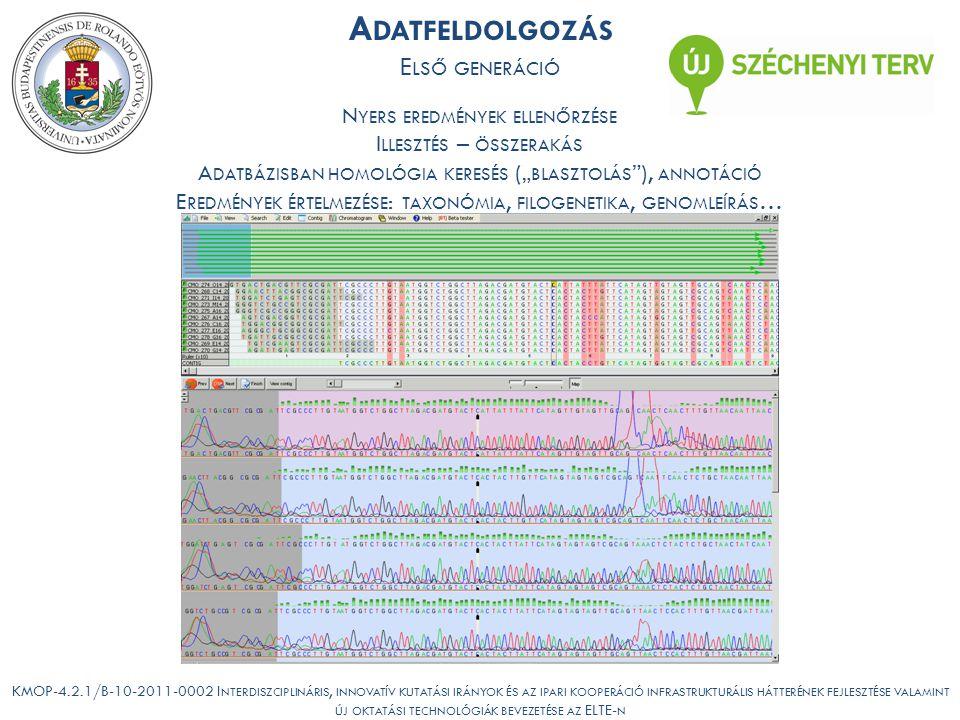 """KMOP-4.2.1/B-10-2011-0002 I NTERDISZCIPLINÁRIS, INNOVATÍV KUTATÁSI IRÁNYOK ÉS AZ IPARI KOOPERÁCIÓ INFRASTRUKTURÁLIS HÁTTERÉNEK FEJLESZTÉSE VALAMINT ÚJ OKTATÁSI TECHNOLÓGIÁK BEVEZETÉSE AZ ELTE- N A DATFELDOLGOZÁS E LSŐ GENERÁCIÓ N YERS EREDMÉNYEK ELLENŐRZÉSE I LLESZTÉS – ÖSSZERAKÁS A DATBÁZISBAN HOMOLÓGIA KERESÉS ("""" BLASZTOLÁS ), ANNOTÁCIÓ E REDMÉNYEK ÉRTELMEZÉSE : TAXONÓMIA, FILOGENETIKA, GENOMLEÍRÁS …"""