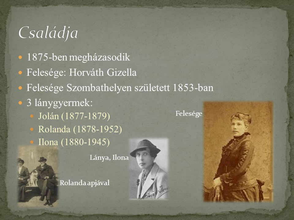 1875-ben megházasodik Felesége: Horváth Gizella Felesége Szombathelyen született 1853-ban 3 lánygyermek: Jolán (1877-1879) Rolanda (1878-1952) Ilona (