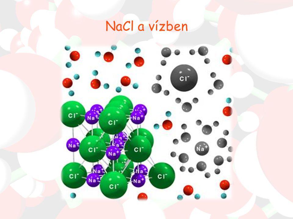 Az oldódás (elegyedés) Adott folytonos közegben a részecskék molekuláris méretű eloszlatása (hőmozgás révén) - fizikai oldódás egyes anyagok reakcióba