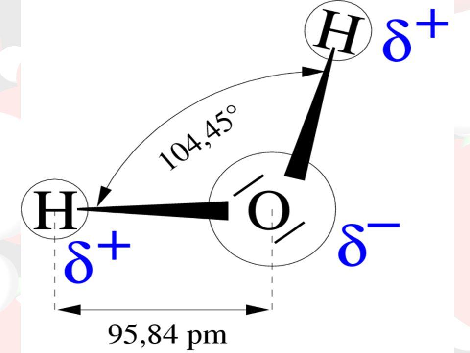 H 2 O szerkezete: Hidrogén atomok Oxigén atom