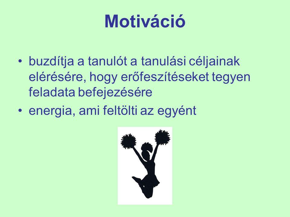 Motiváció buzdítja a tanulót a tanulási céljainak elérésére, hogy erőfeszítéseket tegyen feladata befejezésére energia, ami feltölti az egyént