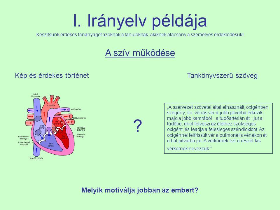 """I. Irányelv példája A szív működése Kép és érdekes történetTankönyvszerű szöveg """"A szervezet szövetei által elhasznált, oxigénben szegény, ún. vénás v"""