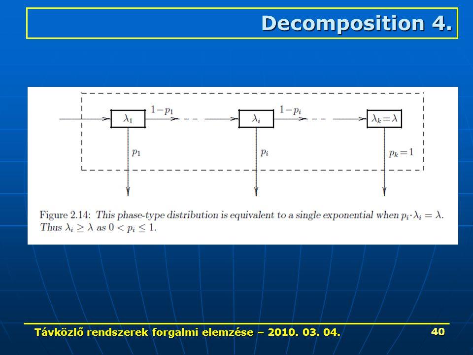 Távközlő rendszerek forgalmi elemzése – 2010. 03. 04. 40 Decomposition 4.