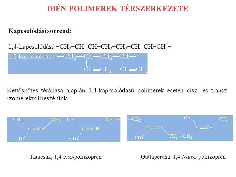 DIÉN POLIMEREK TÉRSZERKEZETE Kapcsolódási sorrend: 1,4-kapcsolódású −CH 2 −CH=CH−CH 2 −CH 2 −CH=CH−CH 2 − Kettőskötés térállása alapján 1,4-kapcsolódá