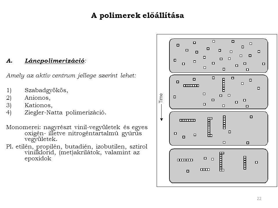 22 A polimerek előállítása A. Láncpolimerizáció : Amely az aktív centrum jellege szerint lehet: 1)Szabadgyökös, 2)Anionos, 3)Kationos, 4)Ziegler-Natta