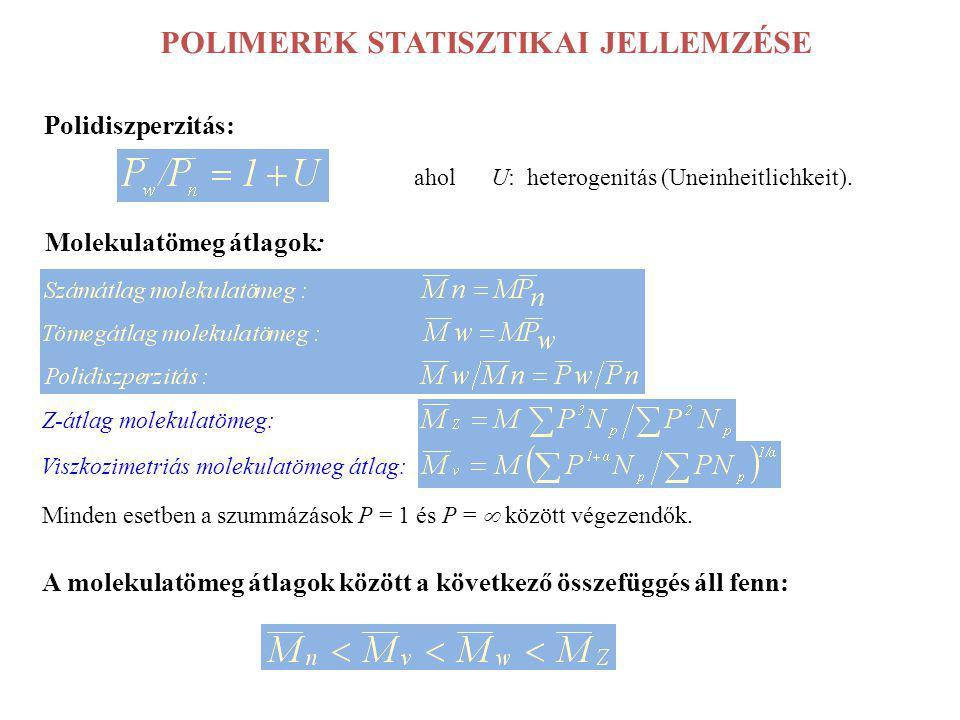 POLIMEREK STATISZTIKAI JELLEMZÉSE Polidiszperzitás: ahol U: heterogenitás (Uneinheitlichkeit). Molekulatömeg átlagok: Z-átlag molekulatömeg: Viszkozim