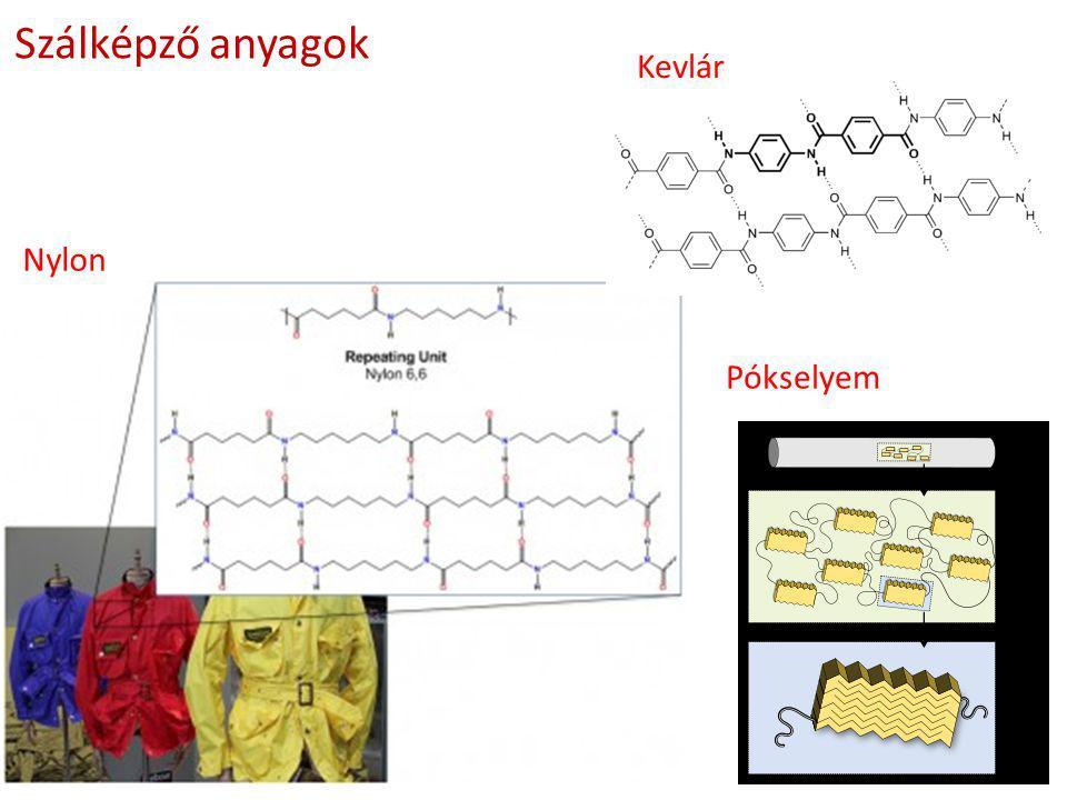 Heteroláncú polimerek néhány fontosabb képviselője A POLIMER LÁNC KÉMIAI SZERKEZETE Poliéterek −(R−O) n − −R− : −CH 2 −CH 2 − poli(etilén-oxid) (PEO) = polietilén glikol (PEG) poli(propilén-oxid) (PPO) = polipropilén glikol (PPG) Poliacetálok −(O−CH 2 −O−R) n − −R− : −CH 2 − −CH 2 −CH 2 − poli(metilén-oxid) (PMO) polidioxán (PDO) Poliészterek −(R−O−CO−R'−CO−O) n − −R− : −CH 2 −CH 2 − poli(etilén-tereftalát) (PET) Poliamidok −(R−CO−NH) n − −R− : −(CH 2 ) 5 − NYLON 6 Poliuretánok −(NH−R'−CO−R−O−CO) n − −R− : −(CH 2 ) 4 − −R'− : −(CH 2 ) 6 − Perlon U