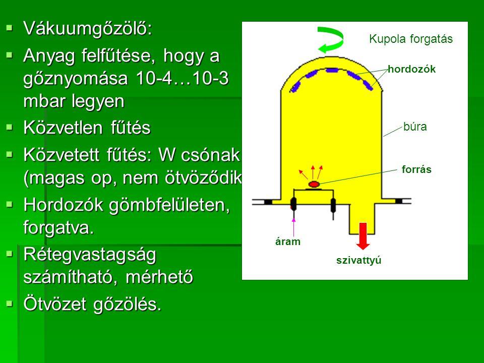  Vákuumgőzölő:  Anyag felfűtése, hogy a gőznyomása 10-4…10-3 mbar legyen  Közvetlen fűtés  Közvetett fűtés: W csónak (magas op, nem ötvöződik)  H