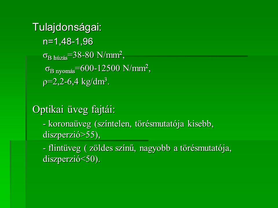 Tulajdonságai:n=1,48-1,96 σ B húzás =38-80 N/mm 2, σ B nyomás =600-12500 N/mm 2, σ B nyomás =600-12500 N/mm 2, ρ=2,2-6,4 kg/dm 3. Optikai üveg fajtái: