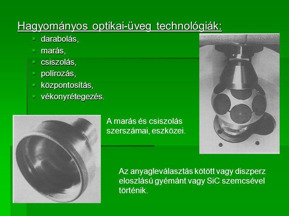 Hagyományos optikai-üveg technológiák:  darabolás,  marás,  csiszolás,  polírozás,  központosítás,  vékonyrétegezés. A marás és csiszolás szersz