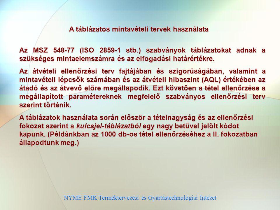 NYME FMK Terméktervezési és Gyártástechnológiai Intézet A táblázatos mintavételi tervek használata Az MSZ 548-77 (ISO 2859-1 stb.) szabványok táblázatokat adnak a szükséges mintaelemszámra és az elfogadási határértékre.