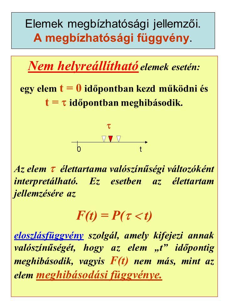Nem helyreállítható elemek esetén: egy elem t = 0 időpontban kezd működni és t =  időpontban meghibásodik.