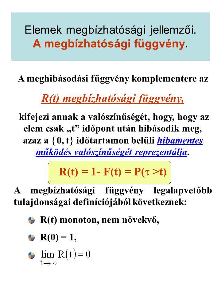 """A meghibásodási függvény komplementere az R(t) megbízhatósági függvény, kifejezi annak a valószínűségét, hogy, hogy az elem csak """"t időpont után hibásodik meg, azaz a  0, t  időtartamon belüli hibamentes működés valószínűségét reprezentálja."""