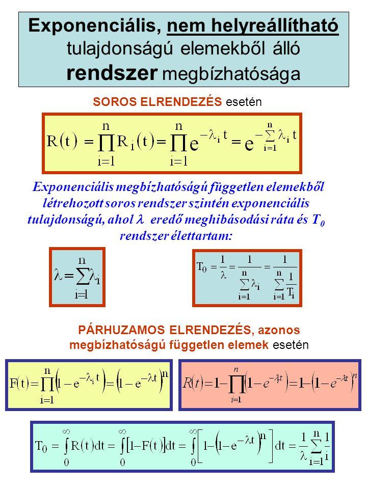 Exponenciális, nem helyreállítható tulajdonságú elemekből álló rendszer megbízhatósága SOROS ELRENDEZÉS esetén Exponenciális megbízhatóságú független elemekből létrehozott soros rendszer szintén exponenciális tulajdonságú, ahol eredő meghibásodási ráta és T 0 rendszer élettartam: PÁRHUZAMOS ELRENDEZÉS, azonos megbízhatóságú független elemek esetén