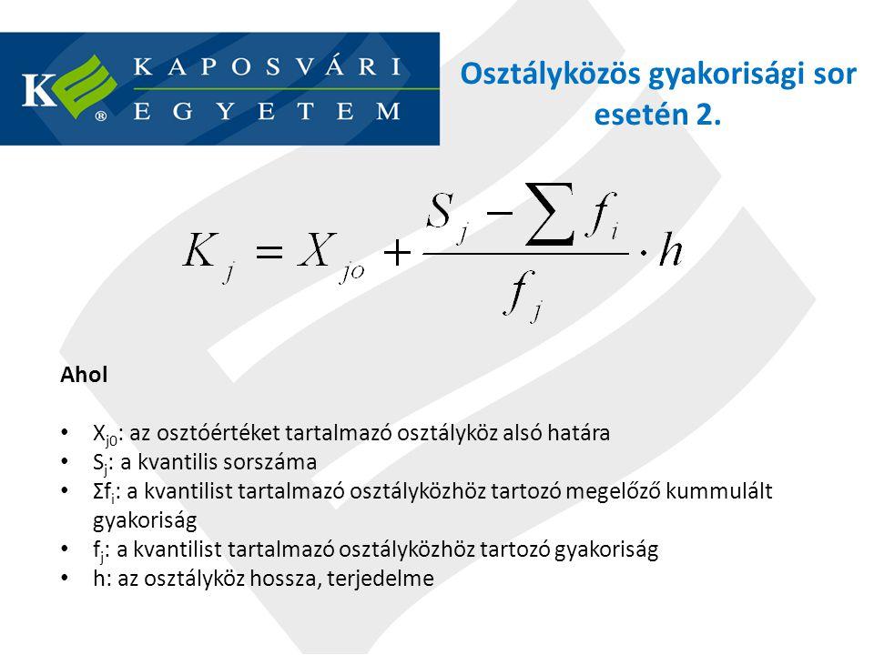 Osztályközös gyakorisági sor esetén 2. Ahol X j0 : az osztóértéket tartalmazó osztályköz alsó határa S j : a kvantilis sorszáma Ʃf i : a kvantilist ta
