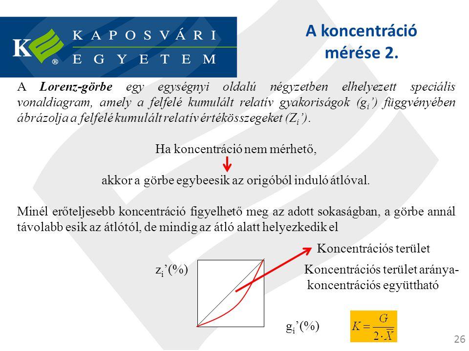 26 A koncentráció mérése 2. A Lorenz-görbe egy egységnyi oldalú négyzetben elhelyezett speciális vonaldiagram, amely a felfelé kumulált relatív gyakor
