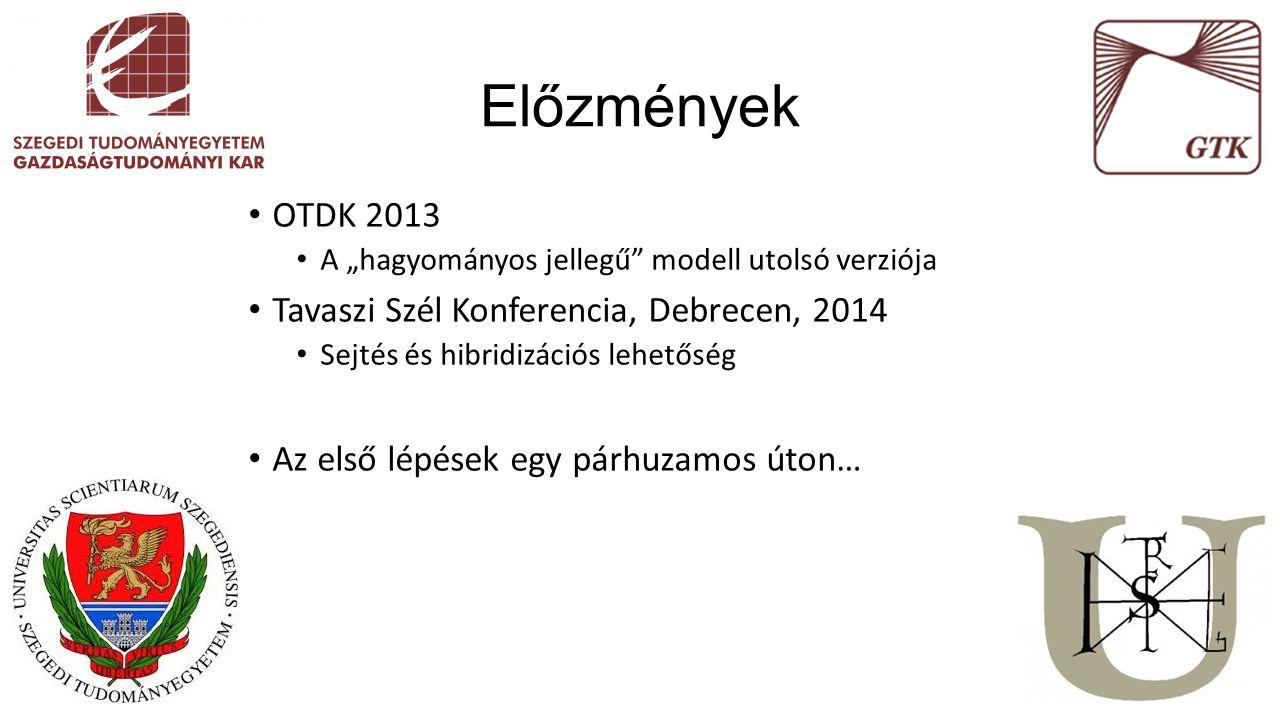 """Előzmények OTDK 2013 A """"hagyományos jellegű"""" modell utolsó verziója Tavaszi Szél Konferencia, Debrecen, 2014 Sejtés és hibridizációs lehetőség Az első"""