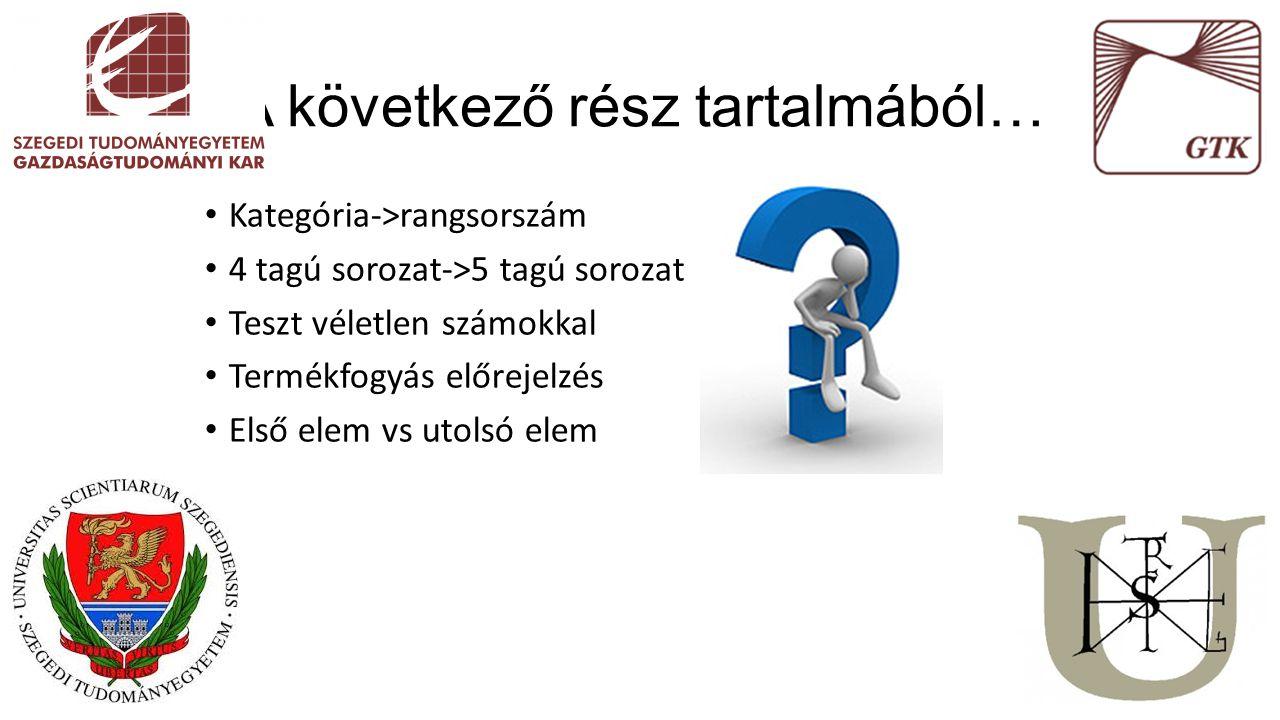 Kategória->rangsorszám 4 tagú sorozat->5 tagú sorozat Teszt véletlen számokkal Termékfogyás előrejelzés Első elem vs utolsó elem A következő rész tart