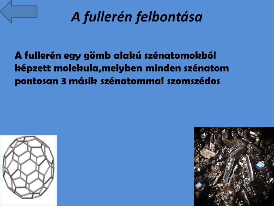 A fullerén felbontása A fullerén egy gömb alakú szénatomokból képzett molekula,melyben minden szénatom pontosan 3 másik szénatommal szomszédos