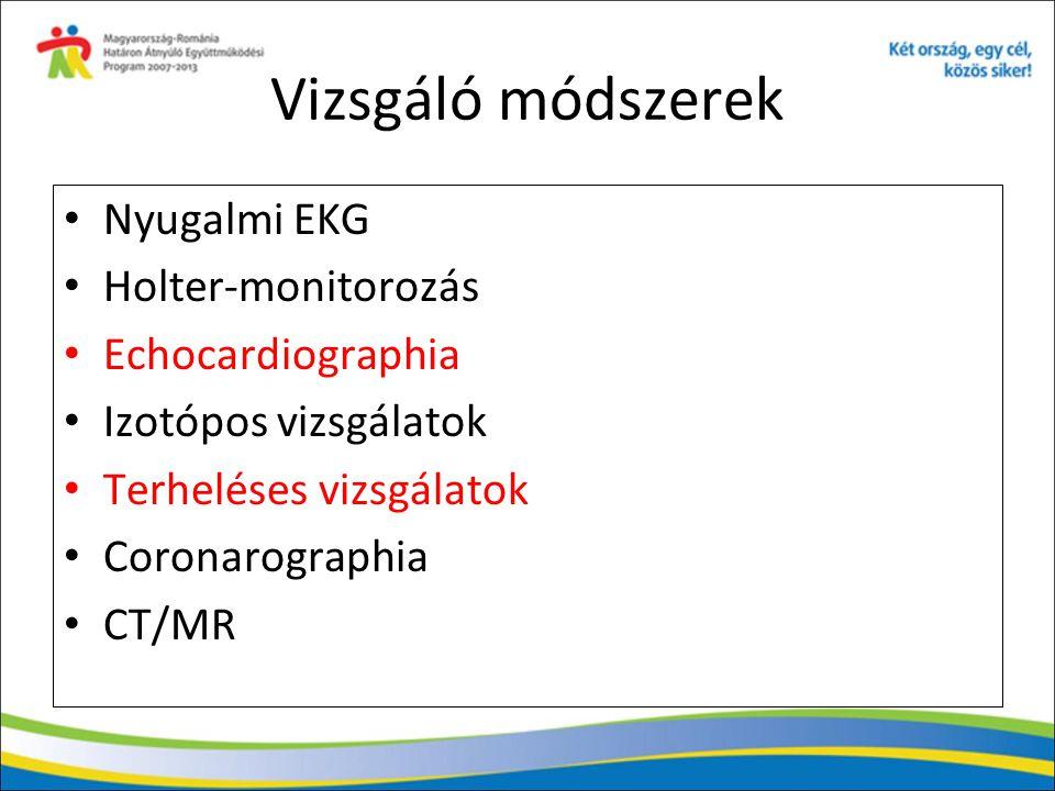 Vizsgáló módszerek Nyugalmi EKG Holter-monitorozás Echocardiographia Izotópos vizsgálatok Terheléses vizsgálatok Coronarographia CT/MR