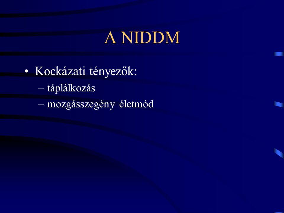 A NIDDM Kockázati tényezők: –táplálkozás –mozgásszegény életmód