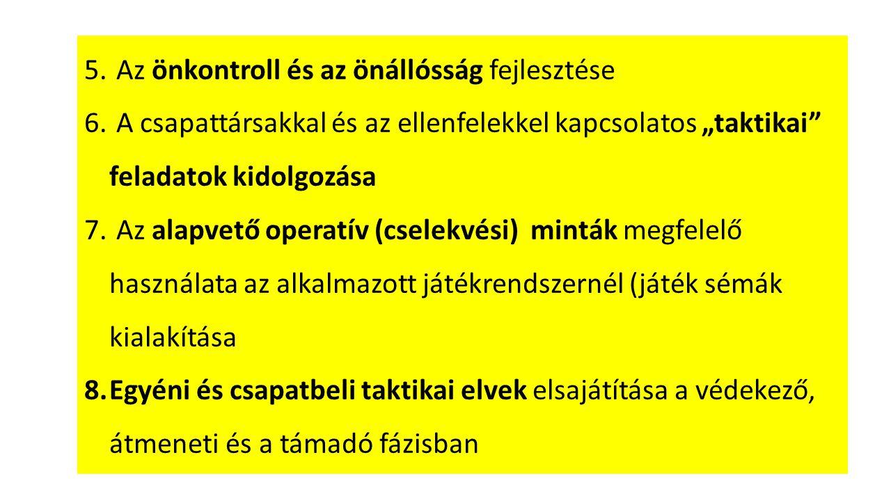 9.Felosztott mérkőzések (védelem>támadás) 10.Felosztott versenyfeladatok 11.