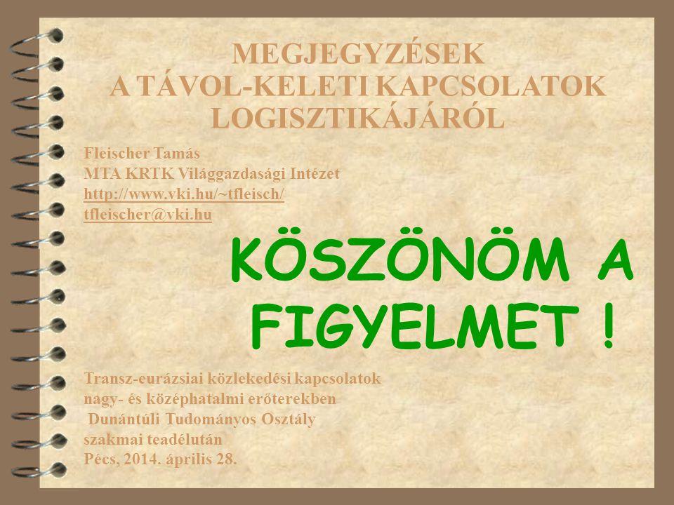 Fleischer Tamás MTA KRTK Világgazdasági Intézet http://www.vki.hu/~tfleisch/ tfleischer@vki.hu Transz-eurázsiai közlekedési kapcsolatok nagy- és középhatalmi erőterekben Dunántúli Tudományos Osztály szakmai teadélután Pécs, 2014.