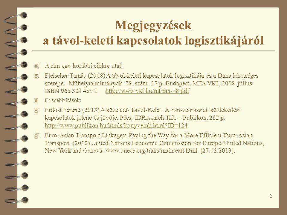 Megjegyzések a távol-keleti kapcsolatok logisztikájáról 4 A cím egy korábbi cikkre utal: 4 Fleischer Tamás (2008) A távol-keleti kapcsolatok logisztikája és a Duna lehetséges szerepe.