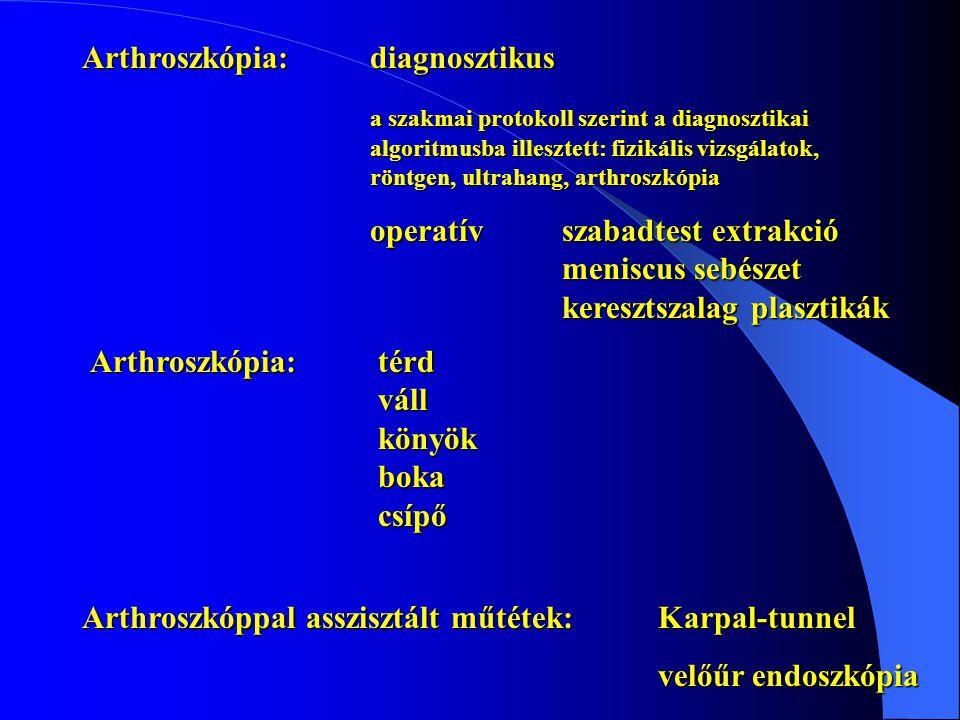Arthroszkópia:diagnosztikus a szakmai protokoll szerint a diagnosztikai algoritmusba illesztett: fizikális vizsgálatok, röntgen, ultrahang, arthroszkó