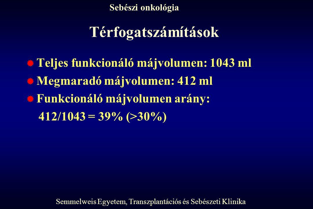Semmelweis Egyetem, Transzplantációs és Sebészeti Klinika Sebészi onkológia Térfogatszámítások  Teljes funkcionáló májvolumen: 1043 ml  Megmaradó májvolumen: 412 ml  Funkcionáló májvolumen arány: 412/1043 = 39% (>30%)